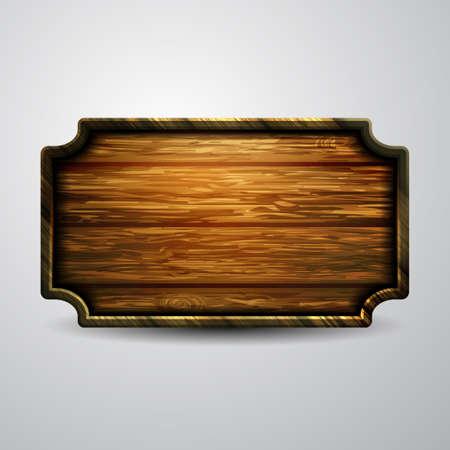 Realistyczna ilustracja wektorowa szyld drewniany