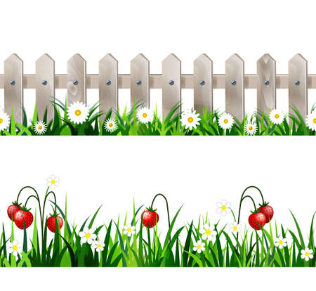 Green Grass seamless set Illustration