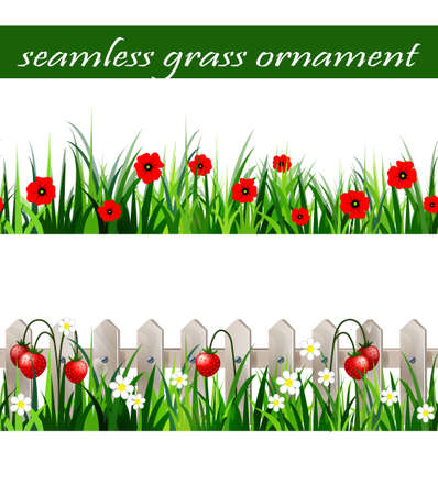 Green Grass seamless set Ilustrace