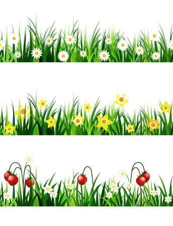Green grass seamless set with flowers Illusztráció