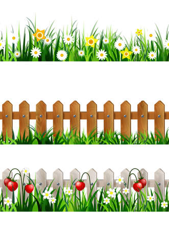 Green Grass seamless set Иллюстрация
