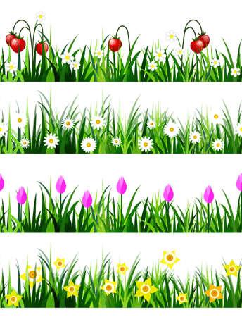 Green Grass seamless set 矢量图像