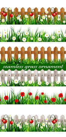 Green Grass seamless set Ilustracja