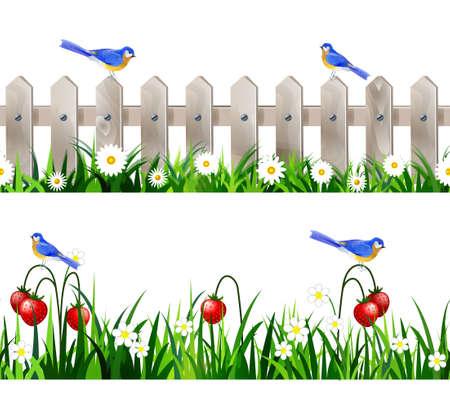 Vogels in een veld met groen gras en fruit. Stock Illustratie