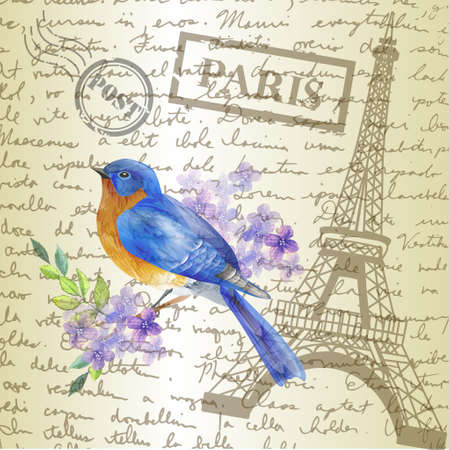 table top with sketching paper and bluebird on hand-drawn writing background with eiffel tower vector 矢量图像