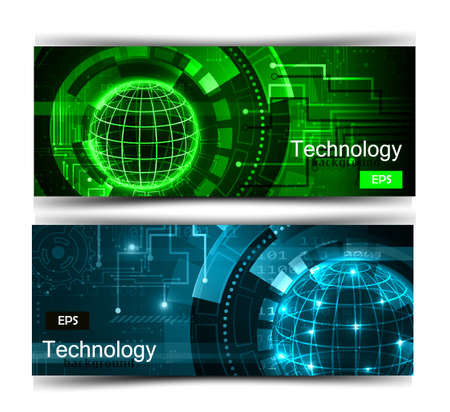 Set of modern scientific banners