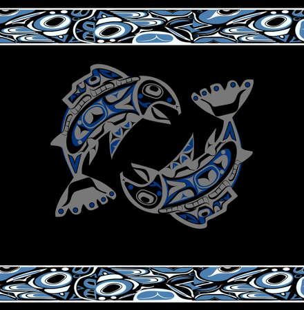 Vecteur de saumon natif Banque d'images - 74961307