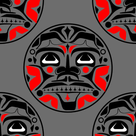 Vector illustration of the sun symbol. Modern stylization of North American and Canadian native art in black and red with native ornament seamless pattern Illustration
