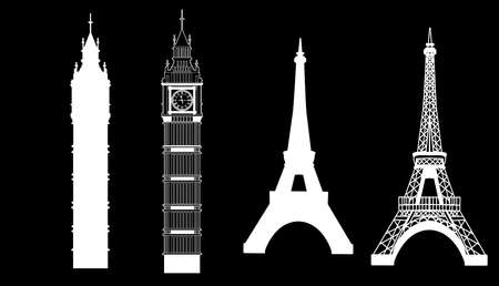 Big Ben and Eiffel Tower 矢量图像