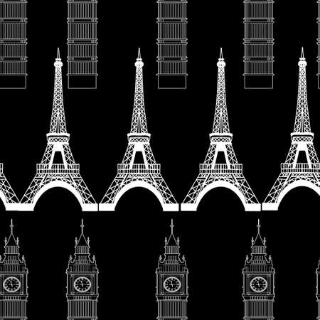 Big Ben and Eiffel Tower Ilustrace