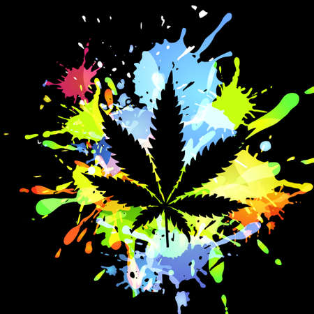 Medical marijuana ink blots Vectores