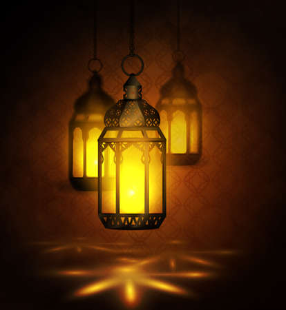 islamic pattern: Intricate Arabic lamps with lights
