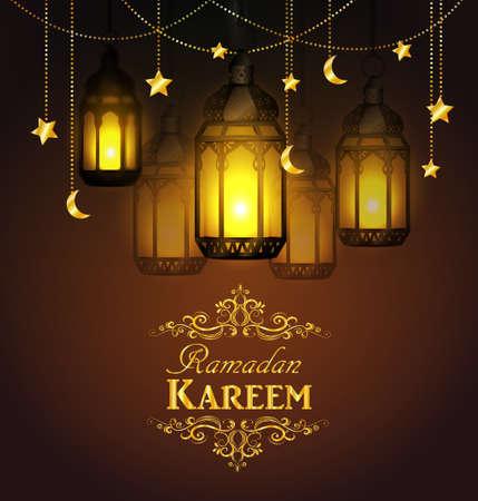 Ramadan Kareem, greeting background with hanging stars moons and lights Ilustração