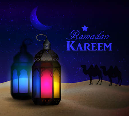 blue and color lanterns stand in the desert at night sky with moon and camel silhouettes vector