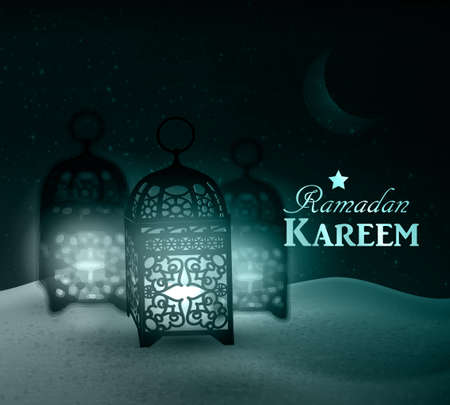 crescent: lanterns stand in the desert at night sky