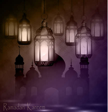 Ramadan Kareem, greeting background with pattern and light Mosque silhouette