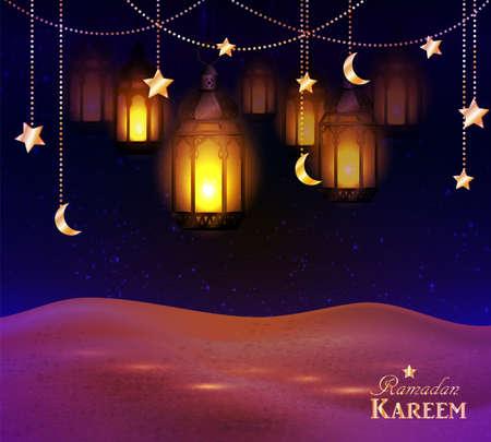 lanterns in the desert at night sky Illustration