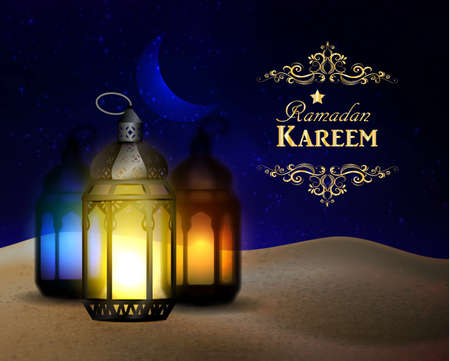 lanterns stand in the desert at night sky