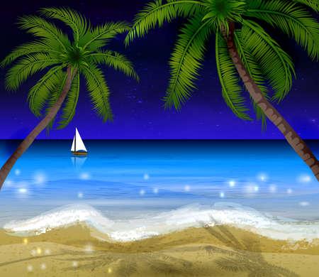 moonrise: Palm trees at night Illustration
