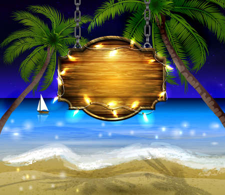 beach party: summer wooden sign on tropical beach background