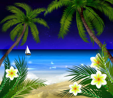 moonrise: Palm trees on night beach and boat background vector