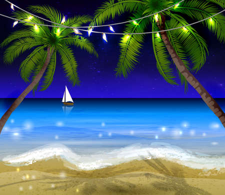 Palm trees at night Illustration