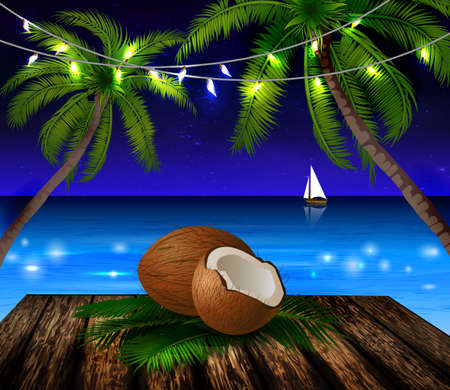 patio deck: Tropical vector background Illustration