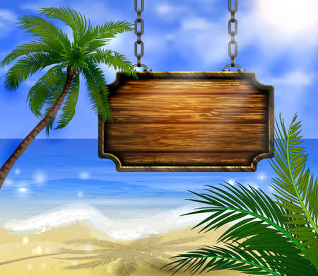Summer wooden sign on tropical beach background Vectores