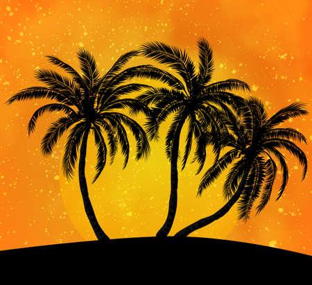 Palms silhouettes at orange sunset sk Illustration