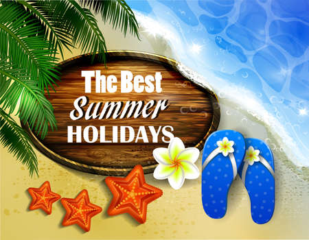 Beautiful beach top view with starfish flip-flops and wooden board vector illustration Ilustracja