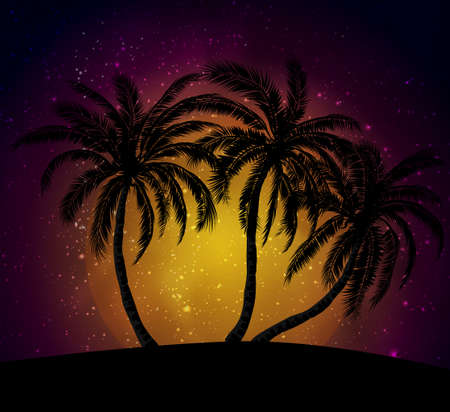 Palms silhouettes at orange sunset sk Illustration