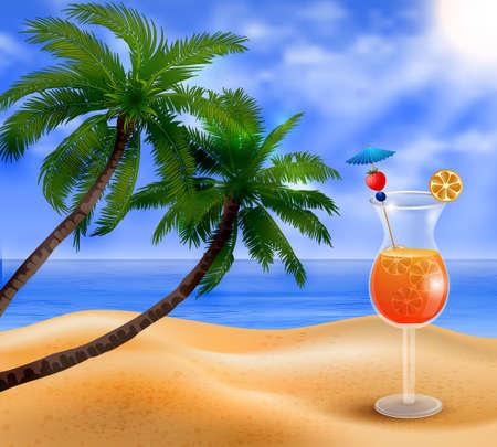 Exotic coconut cocktail Illustration
