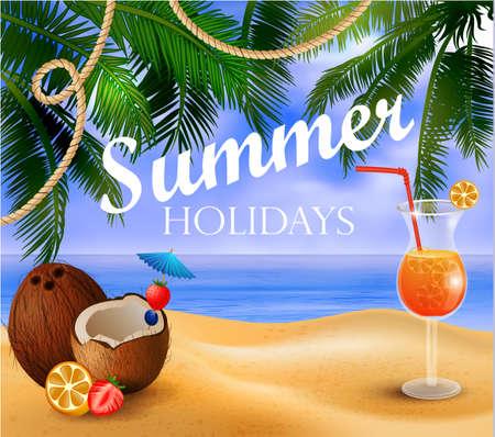 summer exotic beverage on tropical beach Ilustracja