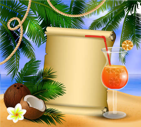 old paper on tropical background Иллюстрация