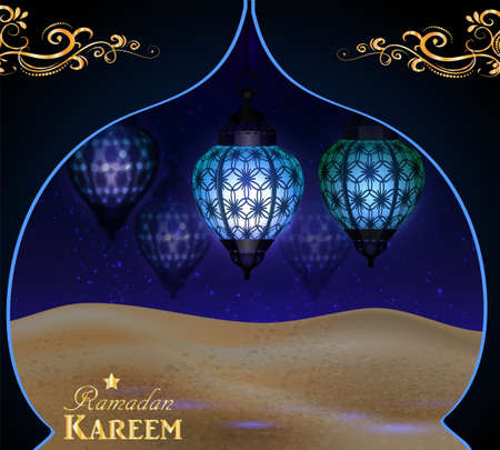 hanging lanterns in the desert at night sky with moon in arabic window with swirls vector