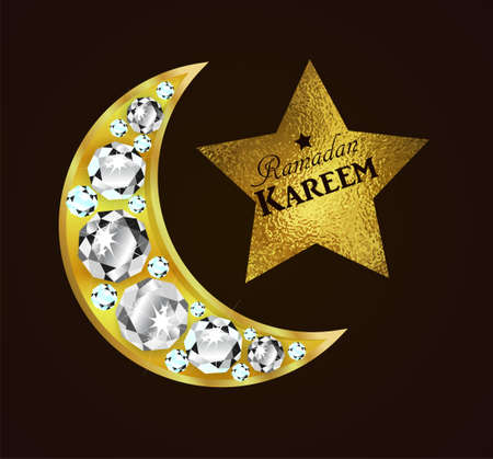 Ramadan greetings with golden moon on dark background with foil starvector