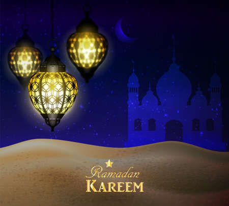 hanging lanterns in the desert at night sky with moon Mosque silhouettes vector