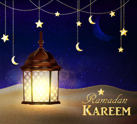blue lanterns stand in the desert at night sky with moon and palm silhouettes vector Illustration