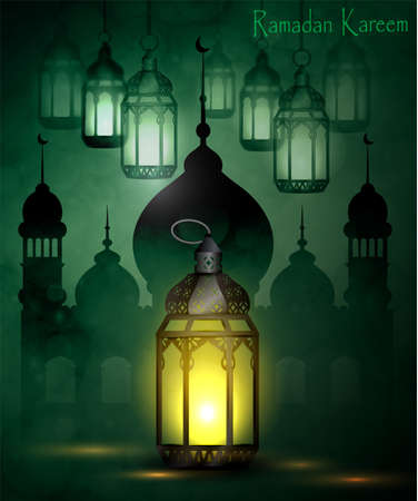 festivity: Ramadan Kareem, greeting background with pattern and light Mosque silhouette vector Illustration