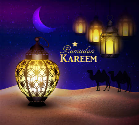 hanging lanterns in the desert at night sky with moon and camel silhouettes vector