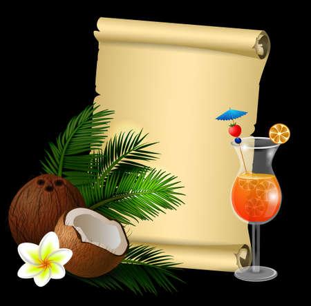 Coconut tropical nut fruit vector illustration