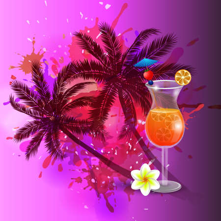 inkblot: Summer background with palm trees and juice