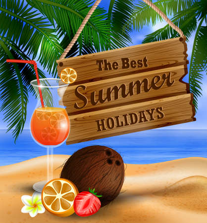 summer wooden sign on tropical beach background