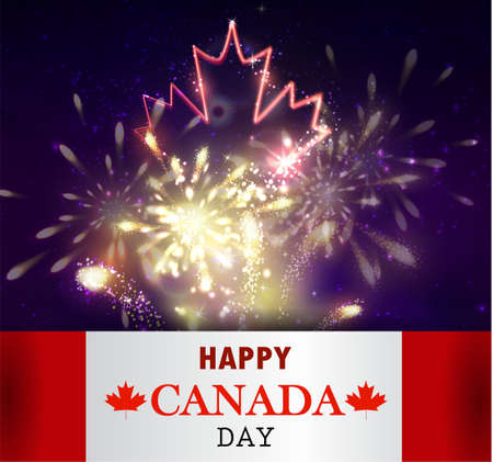 pyrotechnic: Firework and neon maple leaf and Canada flag for Canada day Vector background