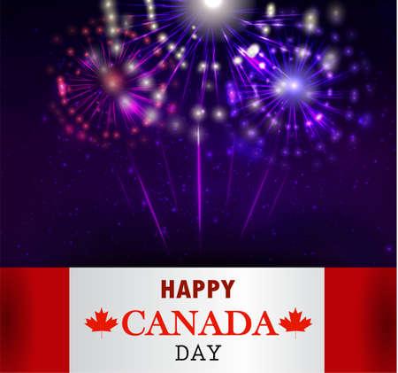 canadian flag: Fireworks and Canada flag Illustration