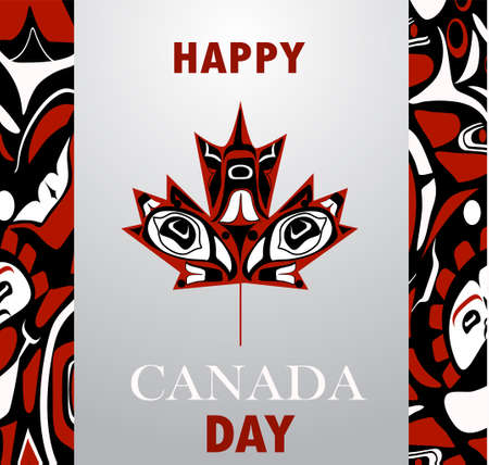 Canada flag with native style maple leaf with aboriginal pattern national day of Canada vector background