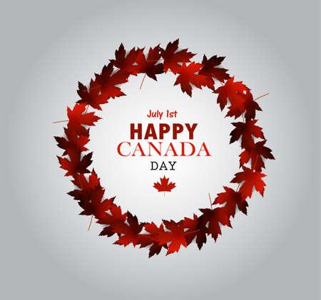canadian flag: Leaf frame Canada Day card in vector format. Illustration