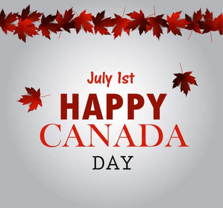 first nations: Leaf line Canada Day card in vector format.