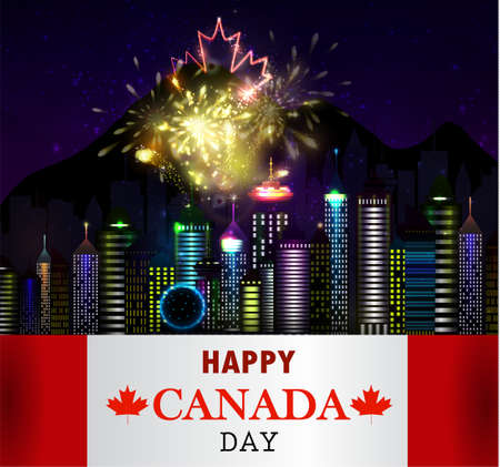 vancouver city: Fireworks and Canada flag Illustration