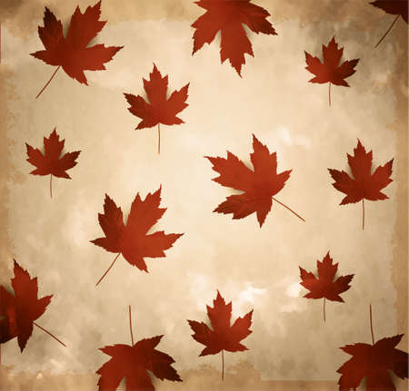 Old brown paper. Vintage paper with maple leaves background Vector